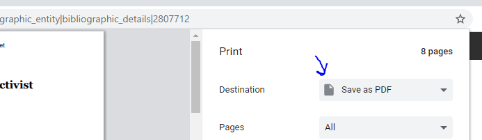 Save as PDF option on the printer view of the page
