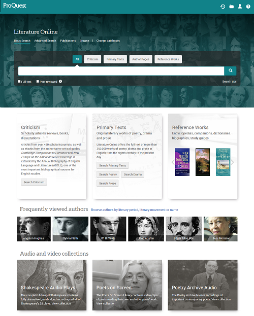 Literature Online Home Page
