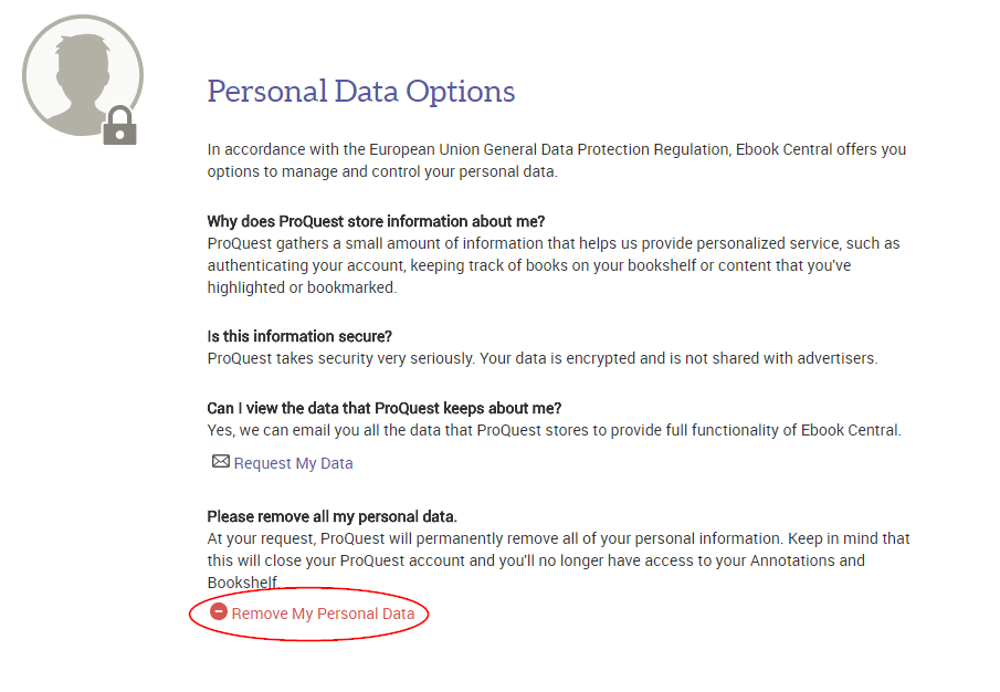 Personal Data Options page on Ebook Central, showing link to remove personal data.