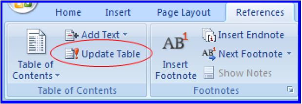 Update table button for TOC in WORD