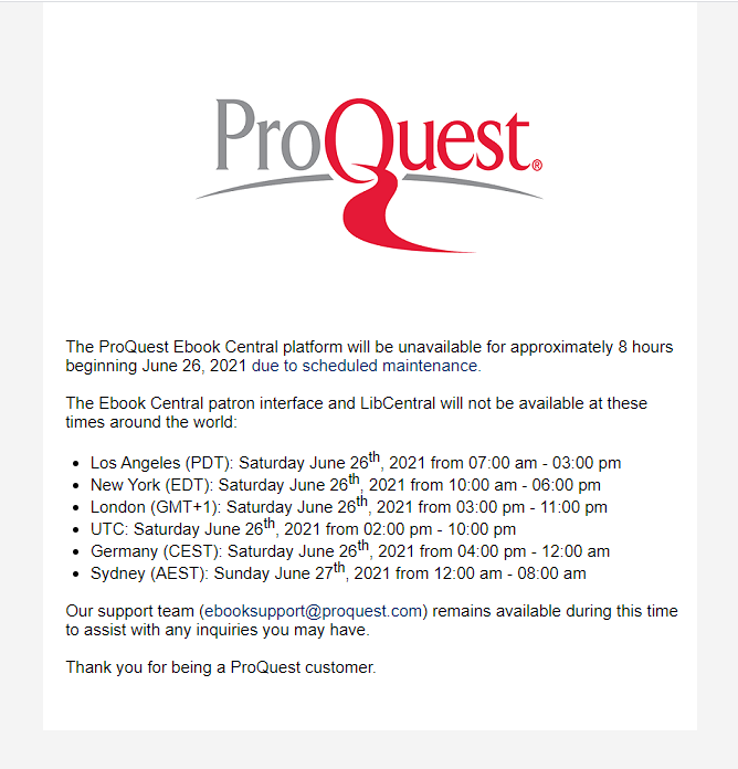Screenshot of the downtime message including times in multiple time zones